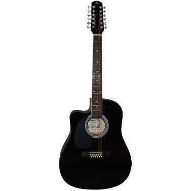 Guitarra Electroacustica  Texana Zurda Negra 12 Cdas Segovia