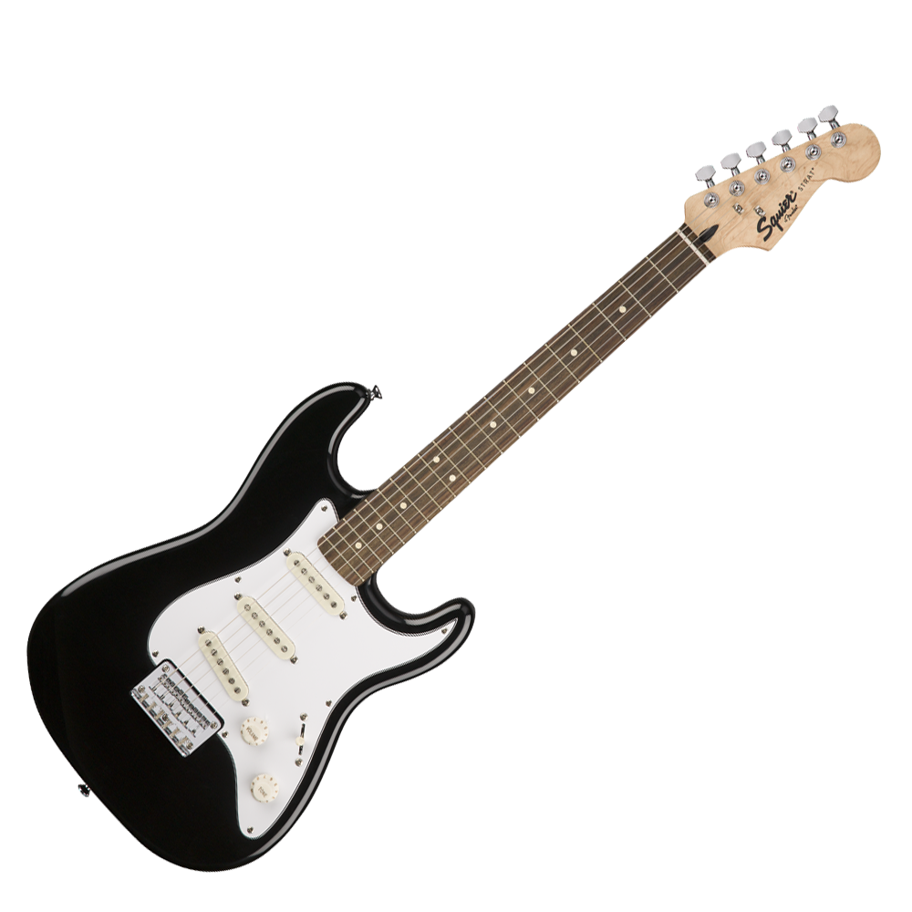 Paquete Guitarra Fender Strat Short Scale Mini Sq10g Negra 120 V