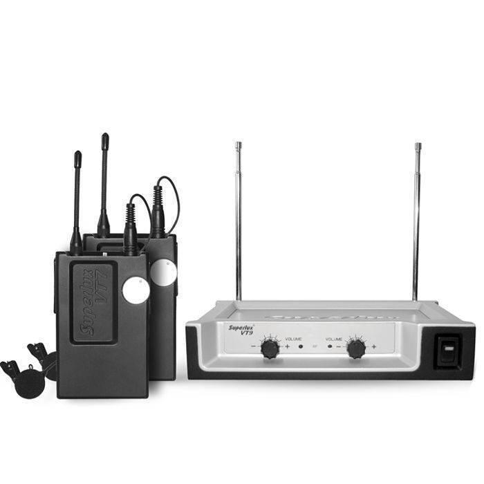 Sistema de micrófonos inalámbricos Superlux Lavalier VT97DD-E12A