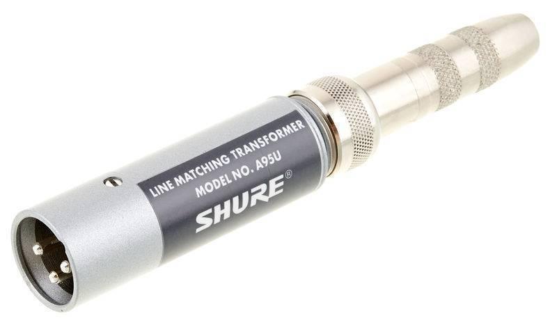 "Transformador Shure A95U Baja Impedancia (macho XLR) a Alta Impedancia (jack hembra de 1/4"")."