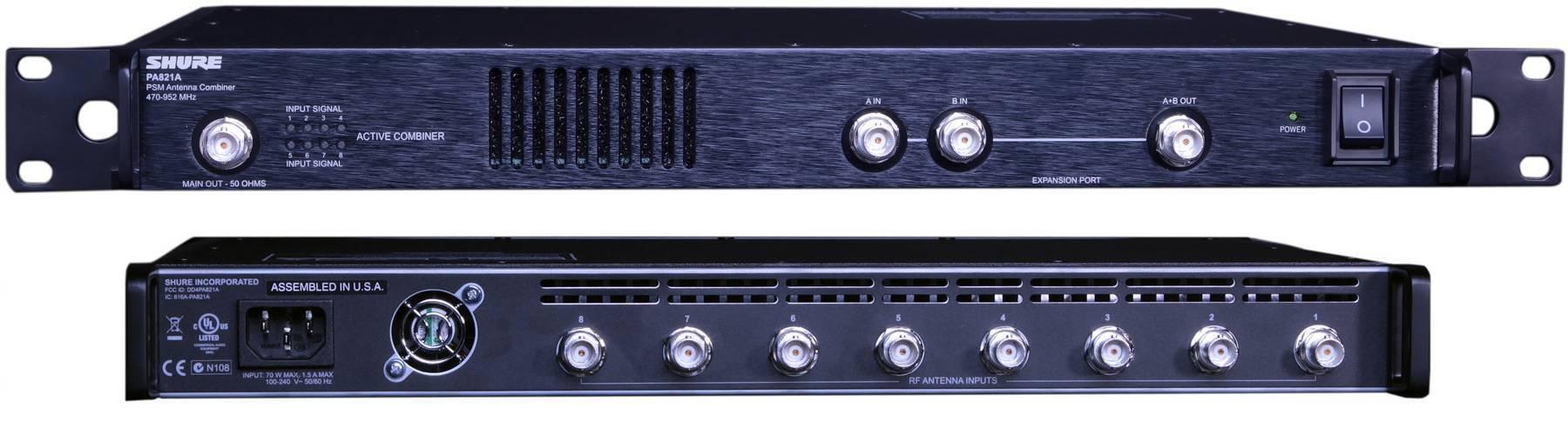 Combinador de señal de antena para 8 transmisores, compatible con todos los sistemas SHURE.