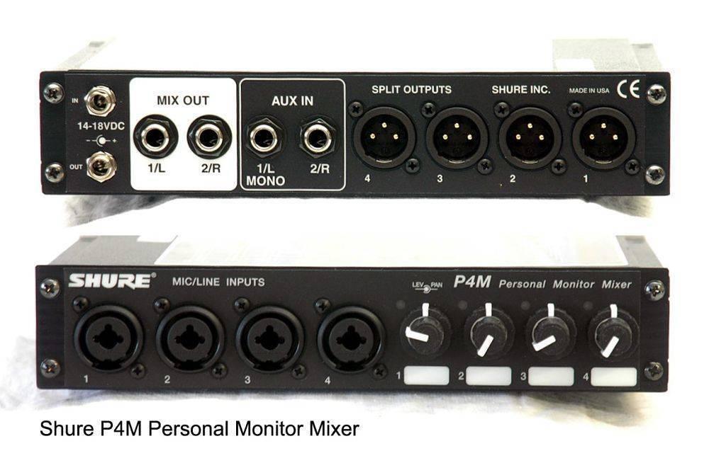 Mezclador personal en el escenario para los sistemas Shure cableados P4HW y P6HW