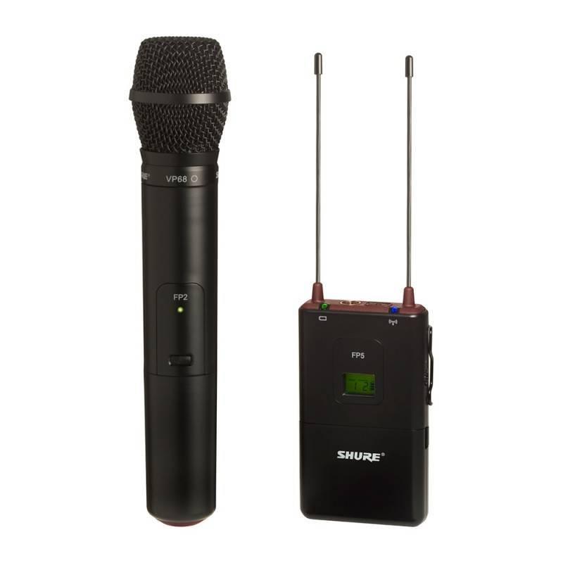 Con receptor portatil FP5, transmisor de mano FP2 con micrófono VP68 omnidireccional