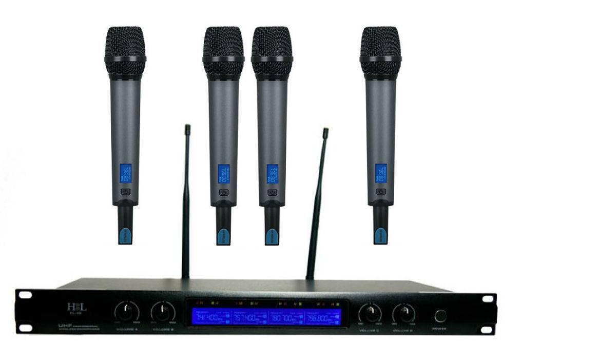 Sistema de 4 microfonos inalambricos profesionales HL-4M