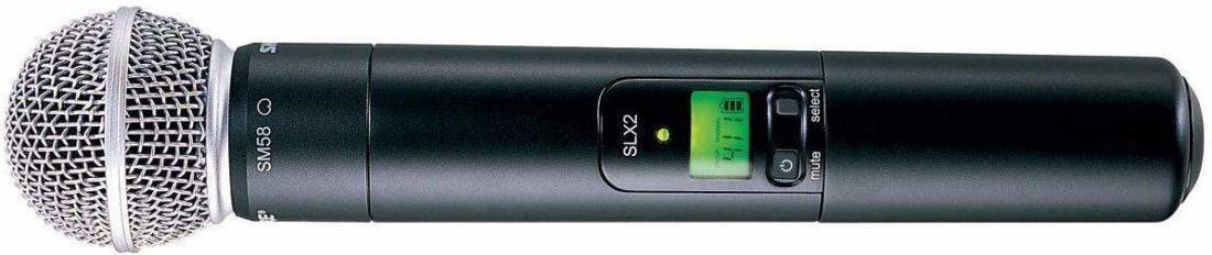 Transmisor de mano Shure con cápsula SM58, 960 frecuencias, pantalla LCD.