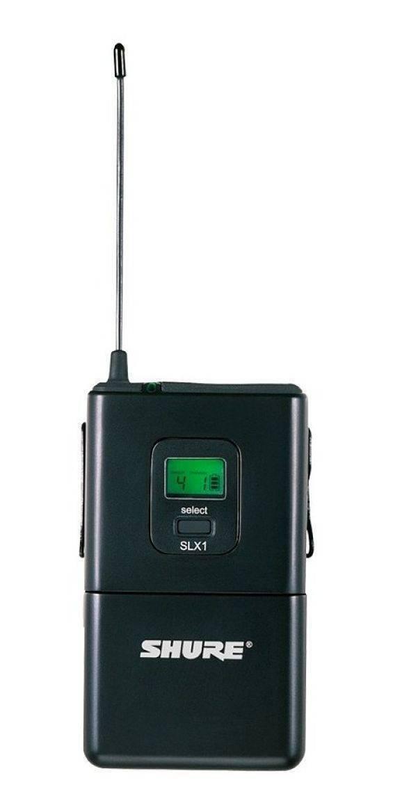 Body-Pack Shure SLX1 programable en 960 frecuencias, entrada TQG, pantalla LCD