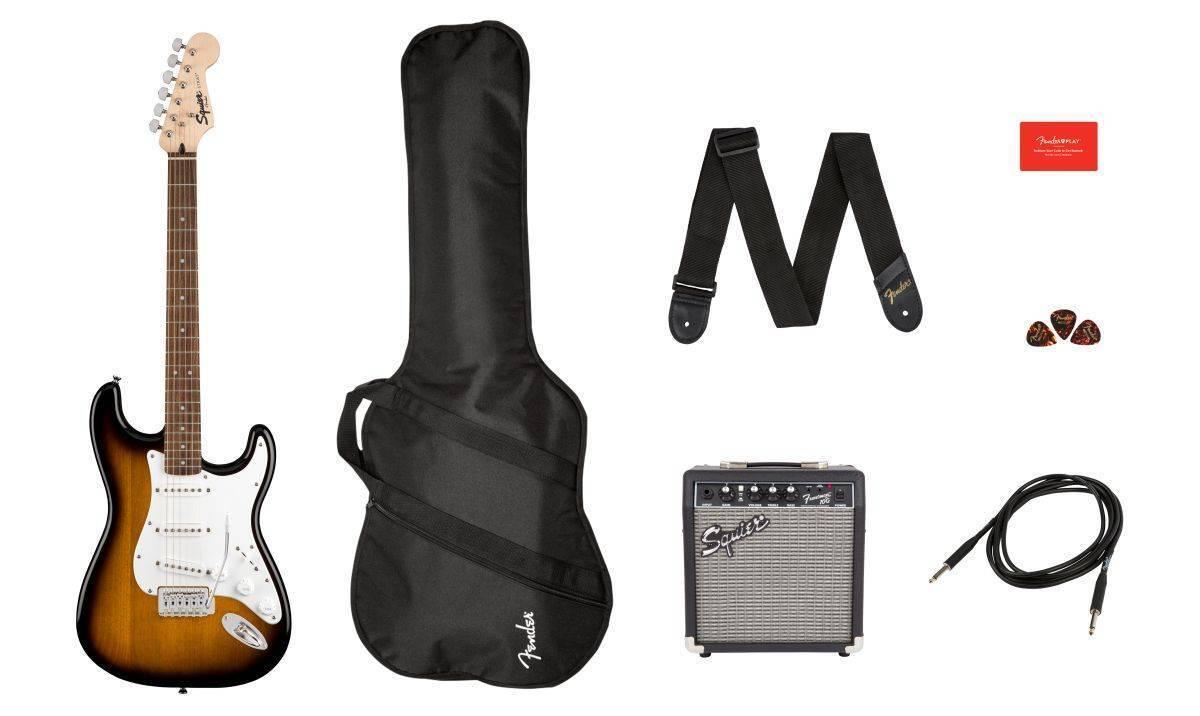 Paquete Guitarra Eléctrica Fender Squier Stratocaster Sunburst