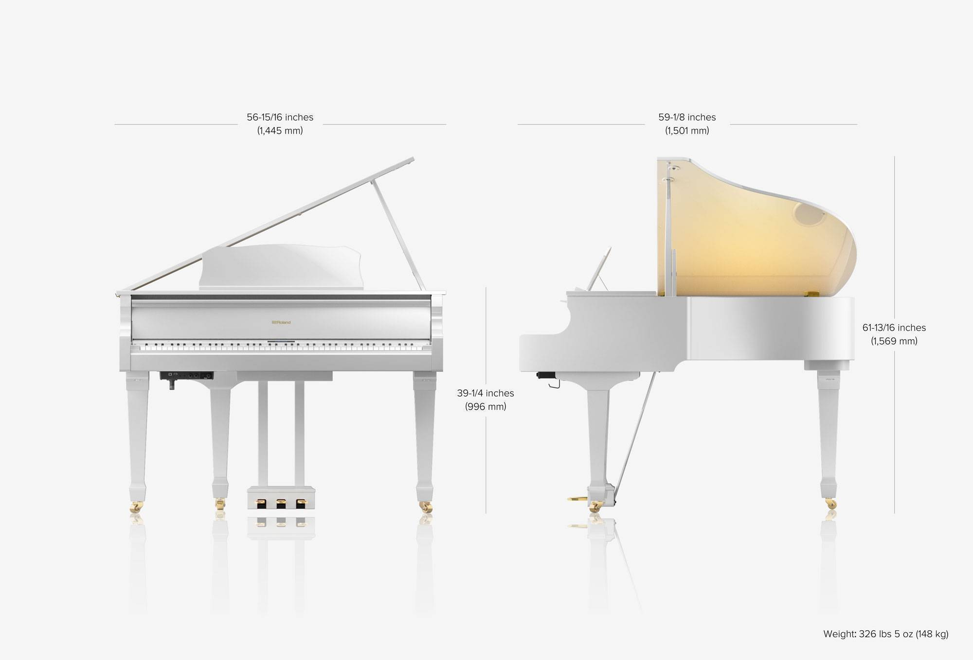 Gran Piano Digital Clásico 1.5 M De Largo C/Bluetooth Imitacion Marfil Color Blanco