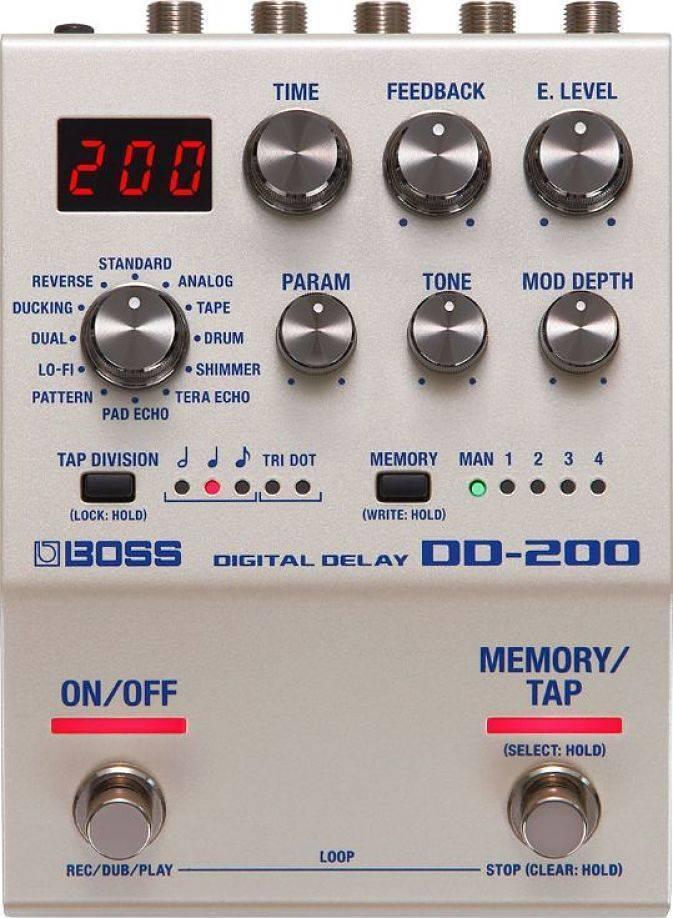Pedal Boss Delay Digital con 12 diferentes DD-200
