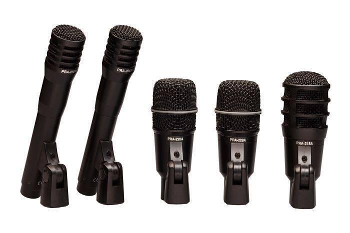 Set de 5 Microfonos Super Lux para Bateria con Clamps y Estuche