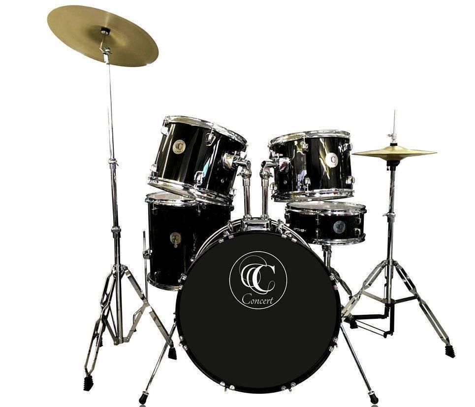 Bateria Concert color Negra de 5 piezas y banco