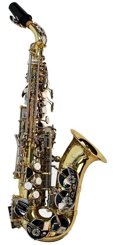 Saxofon Soprano Curvo Combinado Laqueado y niquelado Silvertone
