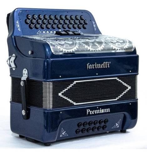 Acordeon Diatonico Fa Azul 3 Regs Farinelli Premium