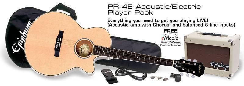 Paquete Guitarra Electro Acustica Epiphone PR4E Natural