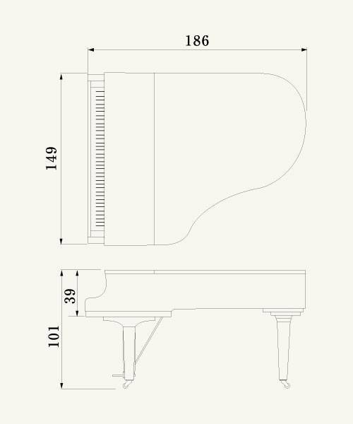 Piano de Cola Yamaha serie CX de 186 centimetros