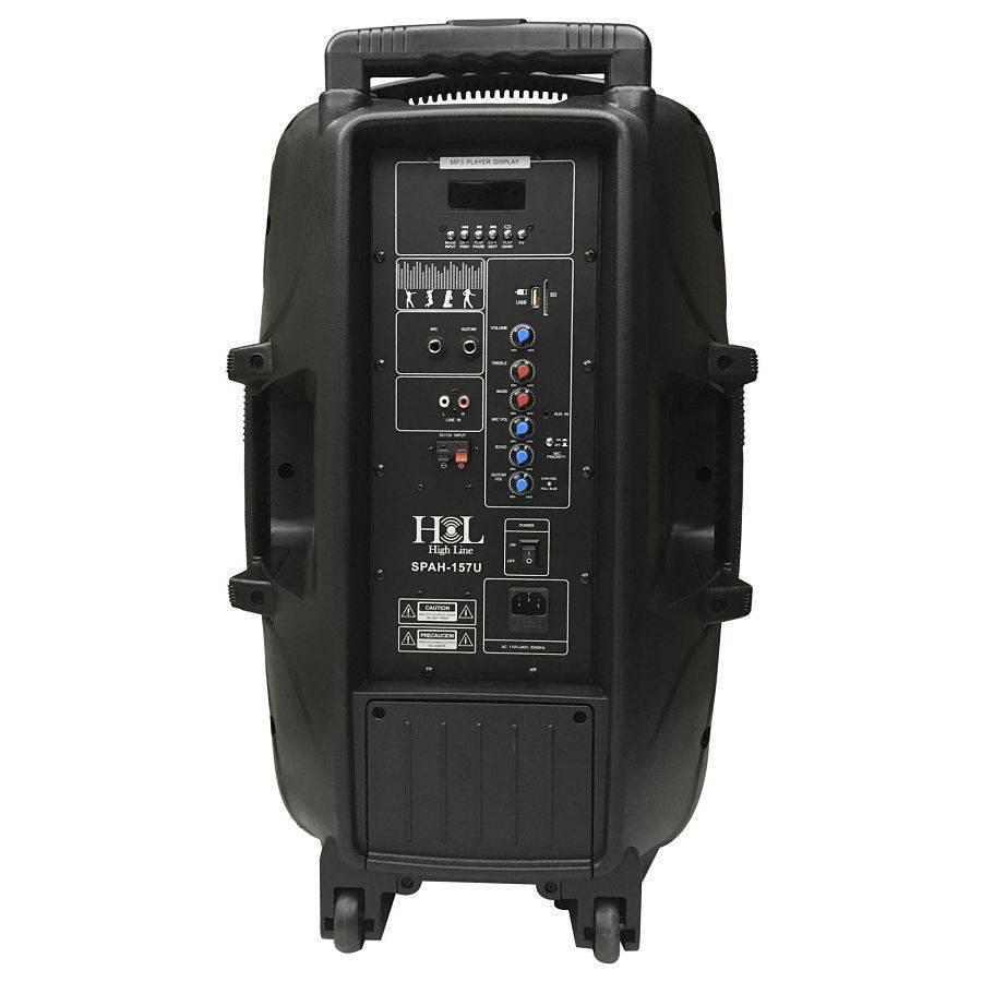 SPAH-157U Bafle Amplficado, Bateria Recargable, MP3, SD, FM, Bluetooh Y Microfono HIGH LINE