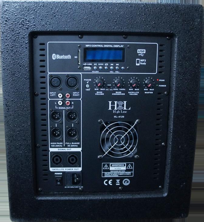 """HL-4120 Sistema Activo sub1-8"""" y 2 Satélites 4x4"""", con Atriles HIGH LINE"""