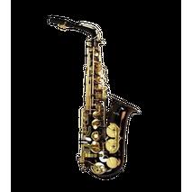 Saxofon Alto Eb Negro Llaves Y Pabellon Dorado Silvertone