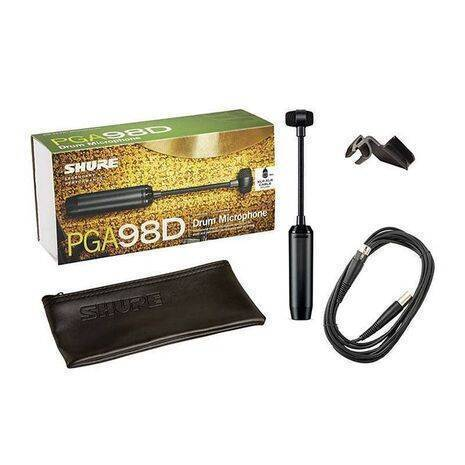 Microfono Shure para bateria o percusion PGA98D-XLR con cuello flexible y cable XLR