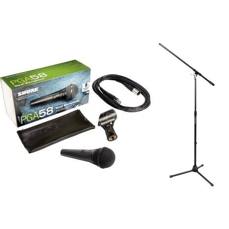 Microfono Con Cable Y Pedestal Shure  Pga58-Bts